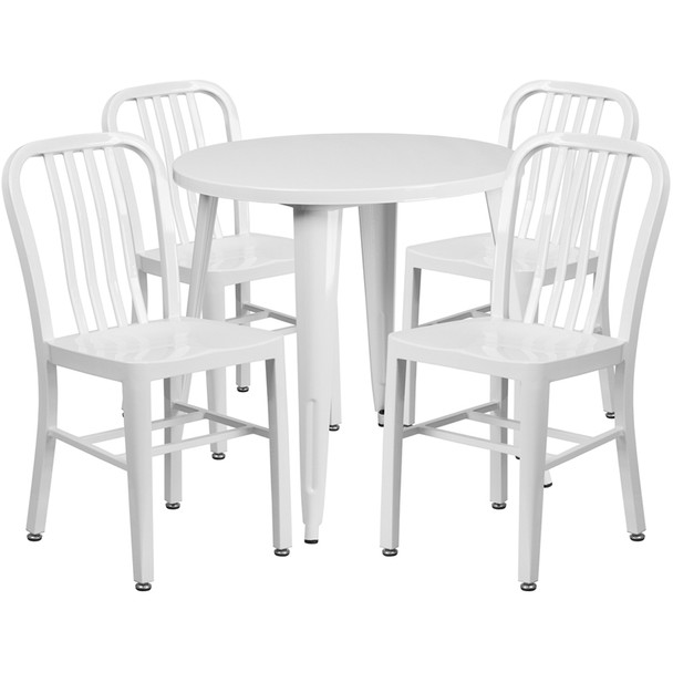 "Metal Indoor/Outdoor Cafe Table Set with Vertical Slat Chairs-30"" Round with 4Chairs-WHITE"