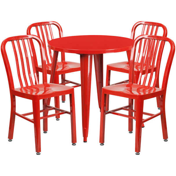 "Metal Indoor/Outdoor Cafe Table Set with Vertical Slat Chairs-30"" Round with 4 Chairs-Red"
