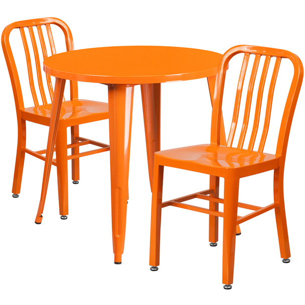 "Metal Indoor/Outdoor Cafe Table Set with Vertical Slat Chairs-30"" Round with 2 Chairs-Orange"