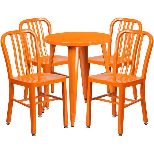 "Metal Indoor/Outdoor Cafe Table Set with Vertical Slat Chairs-24"" Round with 4 Chairs-Orange"