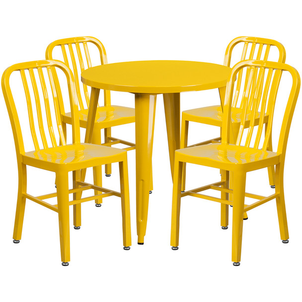 "Metal Indoor/Outdoor Cafe Table Set with Vertical Slat Chairs-30"" Round with 4 Chairs-Yellow"