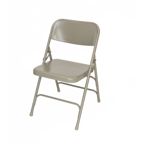 Classic Series Steel Folding Chair - Quad Hinged - Triple Cross Braced - 300lb Capacity -Beige