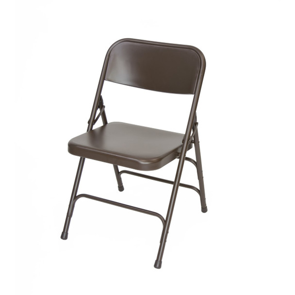 Classic Series Steel Folding Chair - Quad Hinged - Triple Cross Braced - 300lb Capacity -Brown