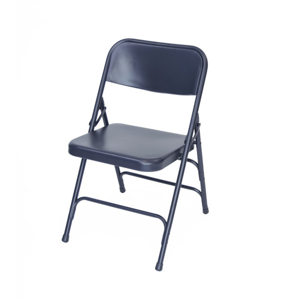 Classic Series Steel Folding Chair - Quad Hinged - Triple Cross Braced - 300lb Capacity -Navy