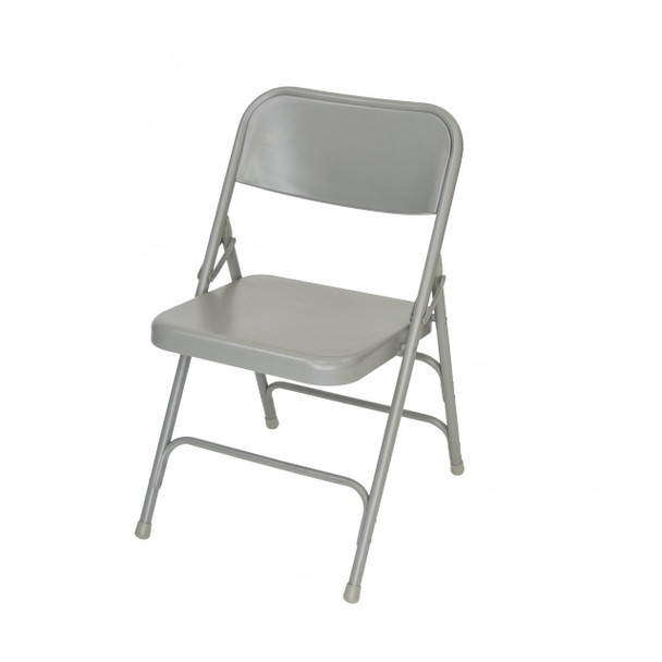 Classic Series Steel Folding Chair - Quad Hinged - Triple Cross Braced - 300lb Capacity -Gray