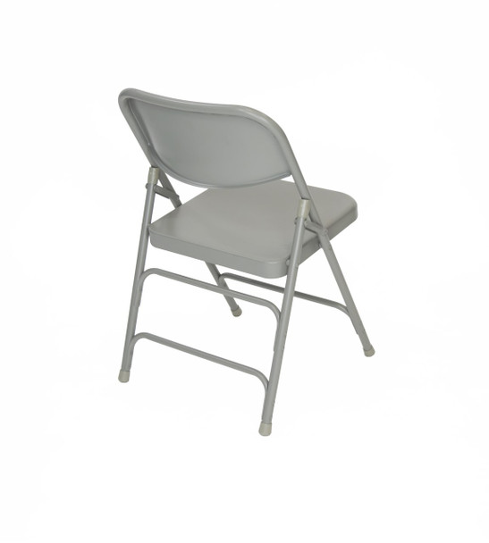 Classic Series Steel Folding Chair - Quad Hinged - Triple Cross Braced - 300lb Capacity-Gray