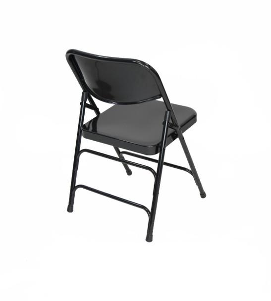 Classic Series Steel Folding Chair - Quad Hinged - Triple Cross Braced - 300lb Capacity-Black