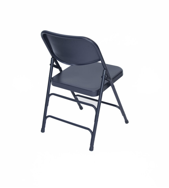 Classic Series Steel Folding Chair - Quad Hinged - Triple Cross Braced - 300lb Capacity-Navy
