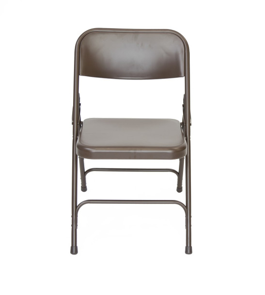 Classic Series Steel Folding Chair - Quad Hinged - Triple Cross Braced - 300lb Capacity-Brown