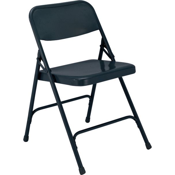 Body Builder Premium Steel Folding Chair By National Public Seating, 200 Series-Navy