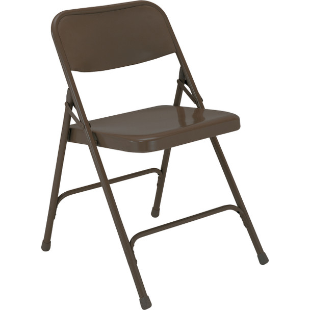 Body Builder Premium Steel Folding Chair By National Public Seating, 200 Series-Brown