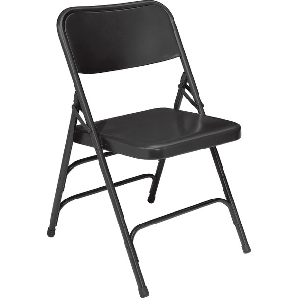 Body Builder Deluxe Steel Folding Chair By National Public Seating, 300 Series-Black