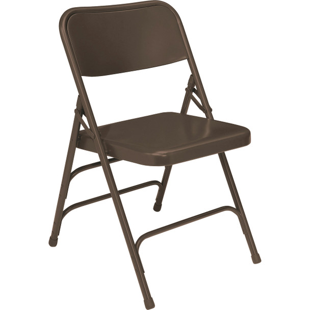 Body Builder Deluxe Steel Folding Chair By National Public Seating, 300 Series-Brown