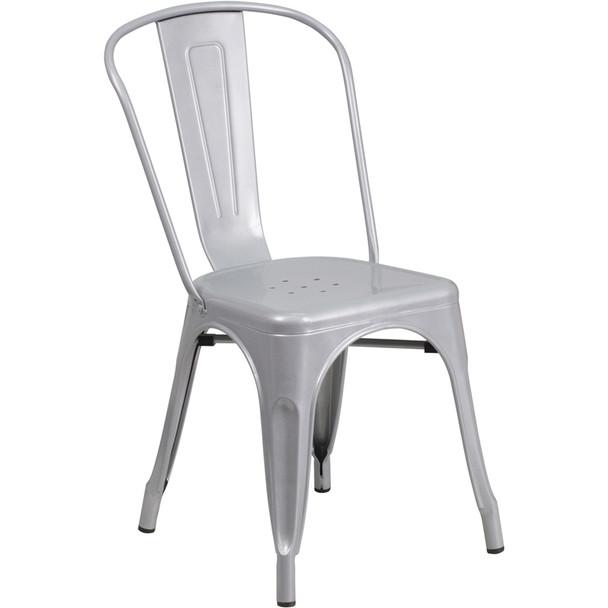 Indoor/Outdoor Metal Tolix Stacking Chairs-Silver