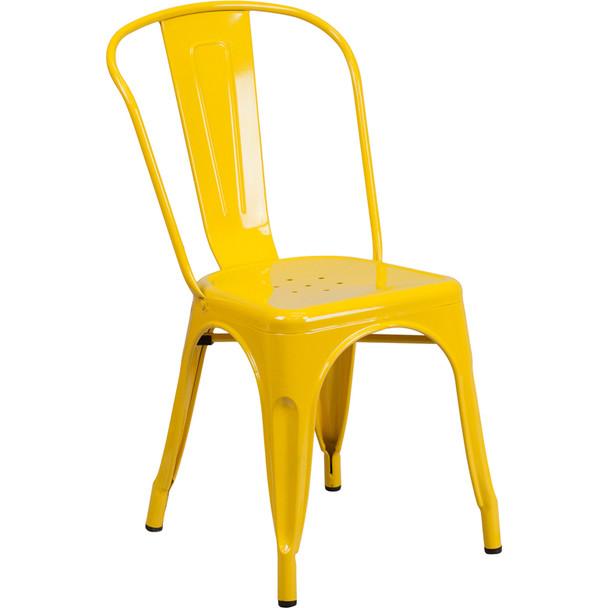 Indoor/Outdoor Metal Tolix Stacking Chairs-Yellow
