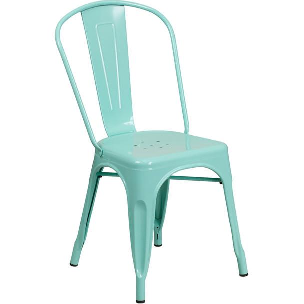 Indoor/Outdoor Metal Tolix Stacking Chairs-Mint Green