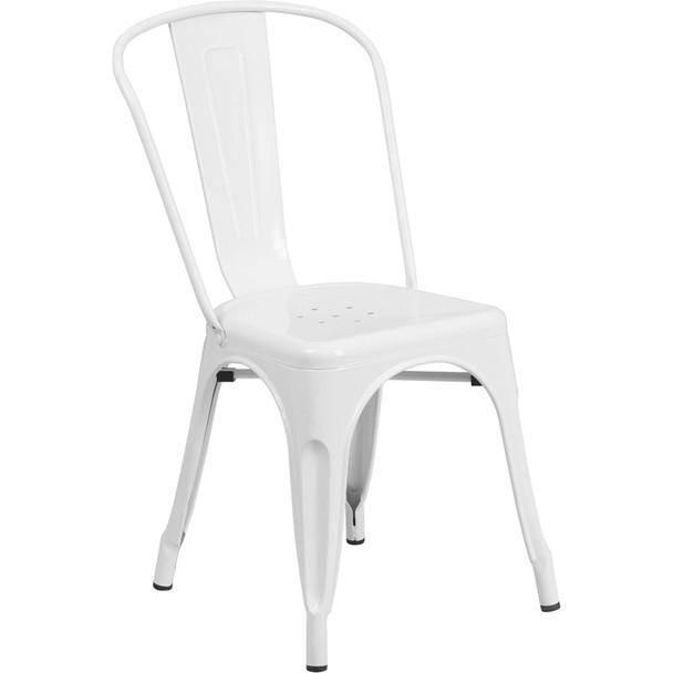 Indoor/Outdoor Metal Tolix Stacking Chairs-White