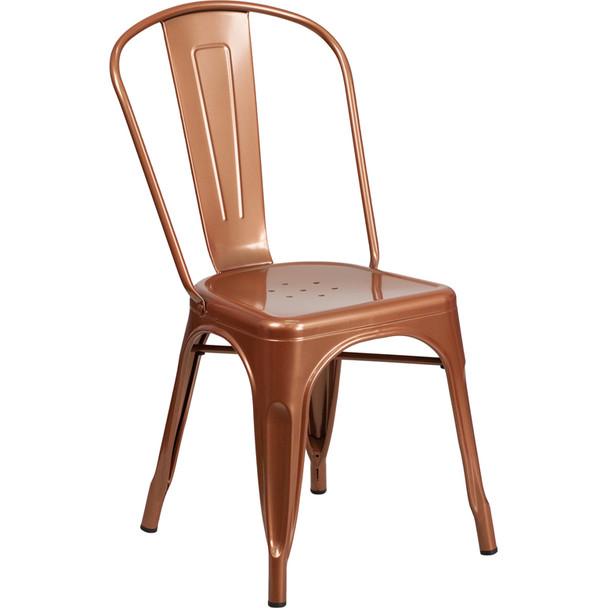 Indoor/Outdoor Metal Tolix Stacking Chairs-Copper