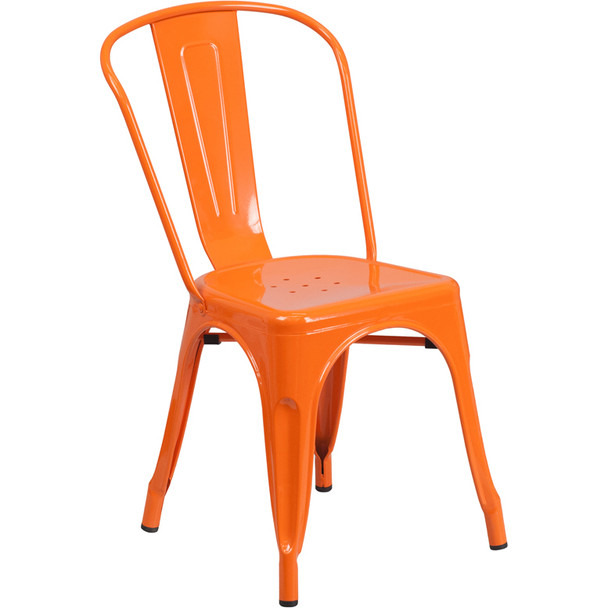 Indoor/Outdoor Metal Tolix Stacking Chairs-Orange