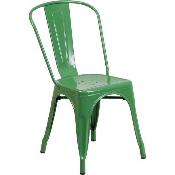 Indoor/Outdoor Metal Tolix Stacking Chairs-Green