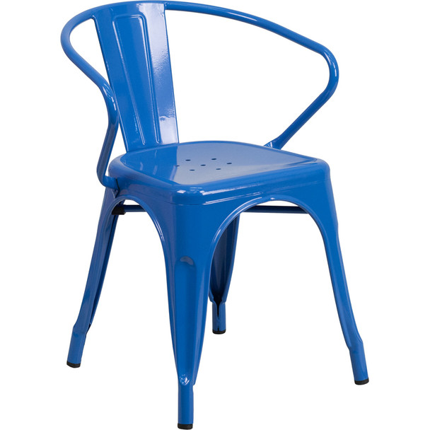 Indoor/Outdoor Metal Bistro Tolix Stacking Chairs with Arms-Blue