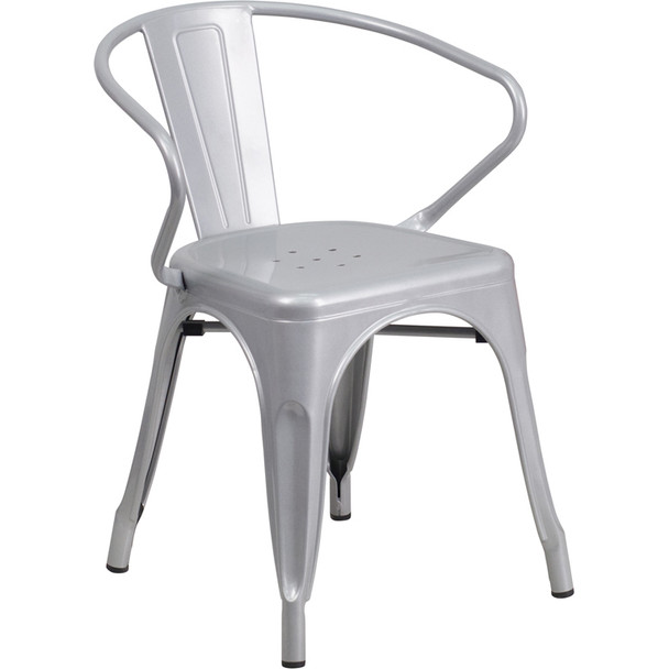 Indoor/Outdoor Metal Bistro Tolix Stacking Chairs with Arms-Silver