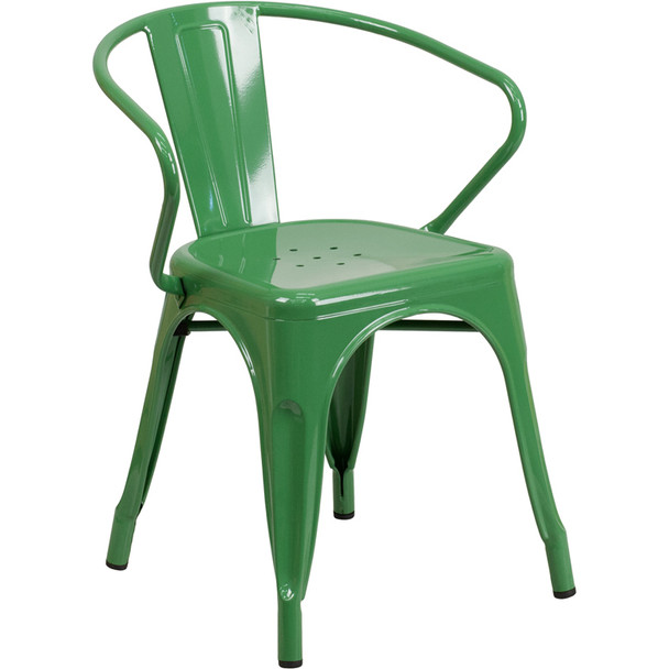 Indoor/Outdoor Metal Bistro Tolix Stacking Chairs with Arms-Green
