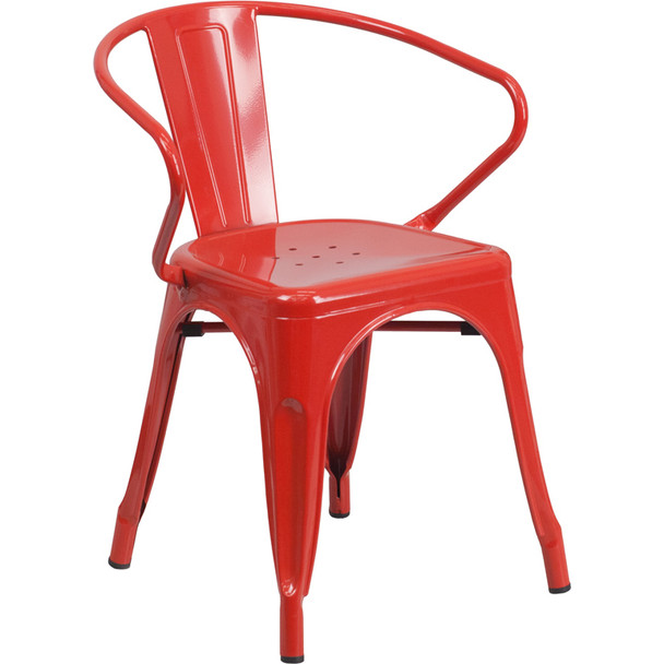 Indoor/Outdoor Metal Bistro Tolix Stacking Chairs with Arms-Red