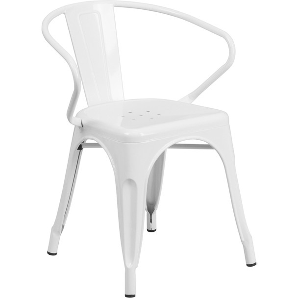 Indoor/Outdoor Metal Bistro Tolix Stacking Chairs with Arms-White