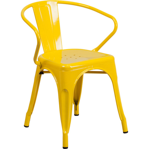 Indoor/Outdoor Metal Bistro Tolix Stacking Chairs with Arms-Yellow