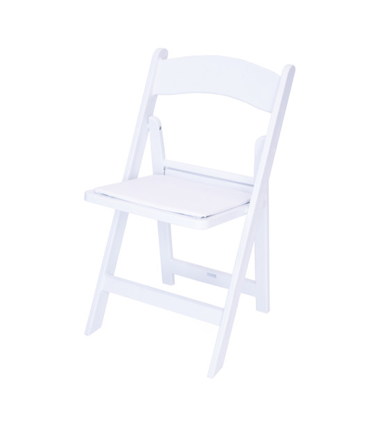 Classic Series Resin Folding Chair - 1000 lb. Capacity - Wedding Garden Style-White