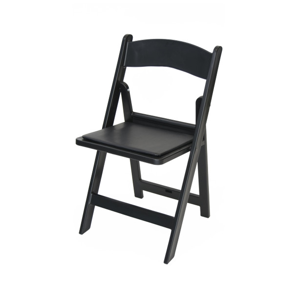 Classic Series Resin Folding Chair - 1000 lb. Capacity - Wedding Garden Style-Black