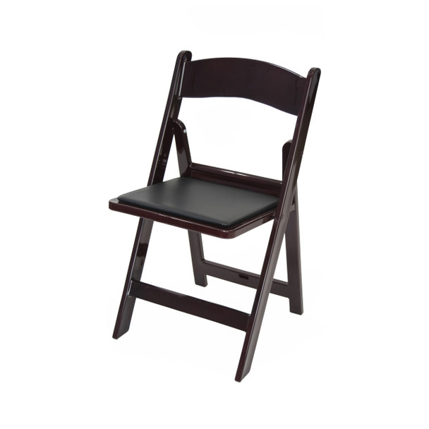 Classic Series Resin Folding Chair - 1000 lb. Capacity - Wedding Garden Style-Mahogany