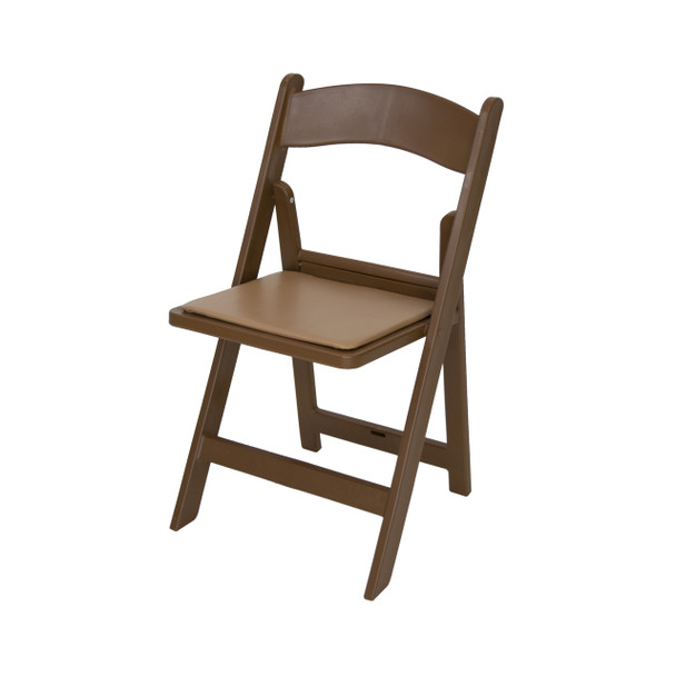 Classic Series Resin Folding Chair - 1000 lb. Capacity - Wedding Garden Style-Brown