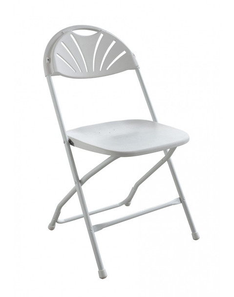 Rhino Fan Back Plastic Folding Chair-White