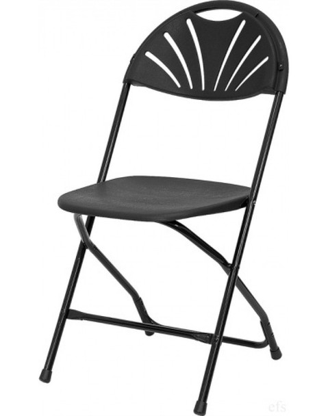 Rhino Fan Back Plastic Folding Chair-Black