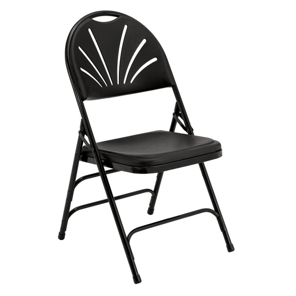 Body Builder Fan Back Folding Chair By National Public Seating, 1100 Series-Black