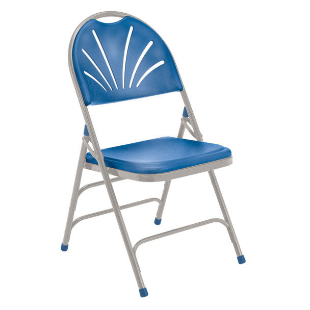 Body Builder Fan Back Folding Chair By National Public Seating, 1100 Series-Blue