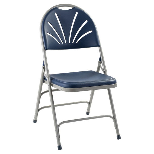 Body Builder Fan Back Folding Chair By National Public Seating, 1100 Series-Navy