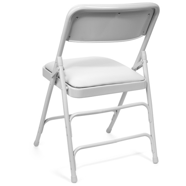 Classic Series Vinyl Padded Folding Chair - Quad Hinged - Triple Cross Braced - 300lb Capacity-White