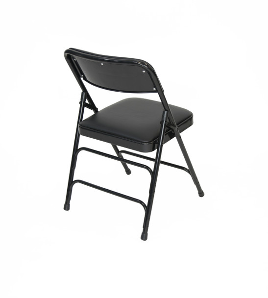 Classic Series Vinyl Padded Folding Chair - Quad Hinged - Triple Cross Braced - 300lb Capacity-Black