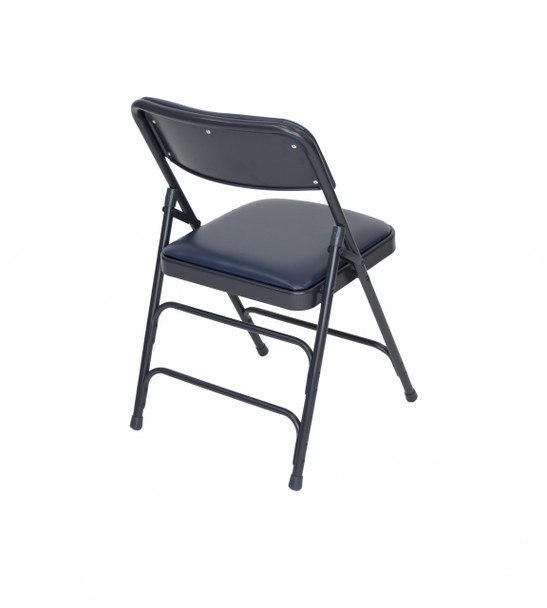 Classic Series Vinyl Padded Folding Chair - Quad Hinged - Triple Cross Braced - 300lb Capacity-Navy