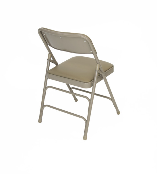 Classic Series Vinyl Padded Folding Chair - Quad Hinged - Triple Cross Braced - 300lb Capacity-Beige
