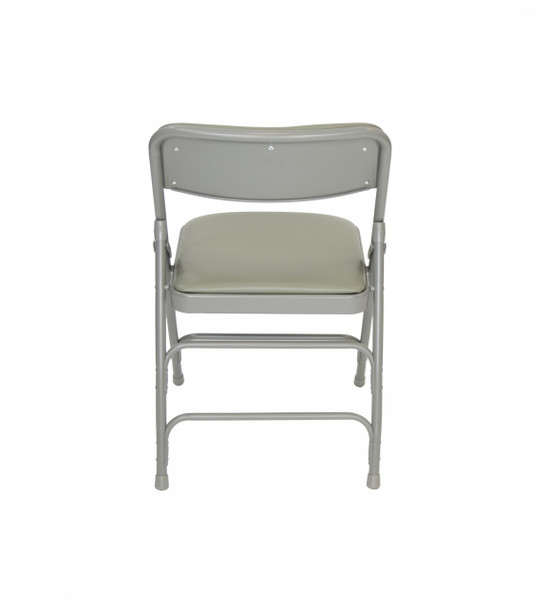 Classic Series Vinyl Padded Folding Chair - Quad Hinged - Triple Cross Braced - 300lb Capacity-Gray