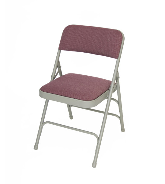 Classic Series Fabric Padded Folding Chair - Quad Hinged - Triple Cross Braced-Cabernet