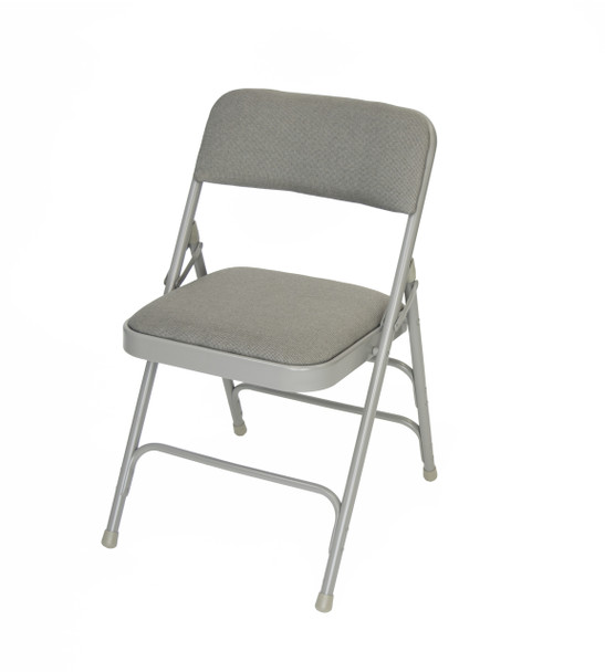 Classic Series Fabric Padded Folding Chair - Quad Hinged - Triple Cross Braced-Gray