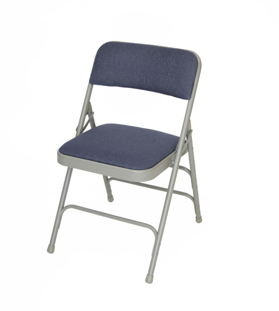 Classic Series Fabric Padded Folding Chair - Quad Hinged - Triple Cross Braced-Navy/Gray