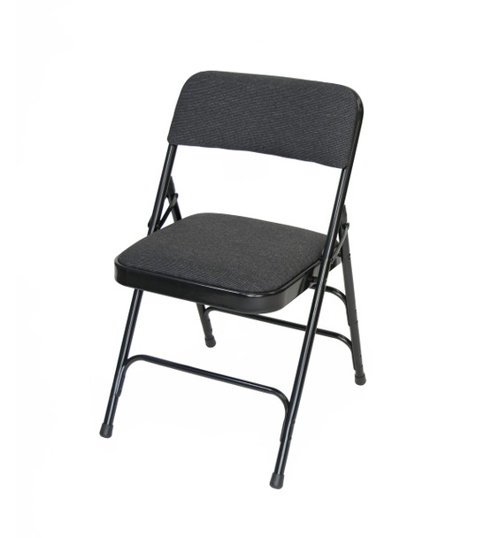 Classic Series Fabric Padded Folding Chair - Quad Hinged - Triple Cross Braced-Black