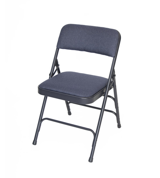 Classic Series Fabric Padded Folding Chair - Quad Hinged - Triple Cross Braced-Navy
