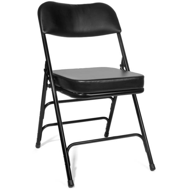 "XL Series 2"" Thick Vinyl Padded Folding Chair - Quad Hinged - Triple Cross Braced-Black"